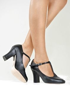 "So Danca 3"" T-Strap Leather Character Heel"
