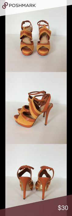 """Jessica Simpson Eman Platform Sandals Only worn once! These orange suede and leather platform sandals are perfect for fall!! Feature a 1.25"""" platform and 5"""" heel. Jessica Simpson Shoes Heels"""