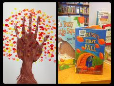 Autumn craft: Handprint tree with dotted fall leaves. Instead of hand painting we did hand outlines at Los Altos.