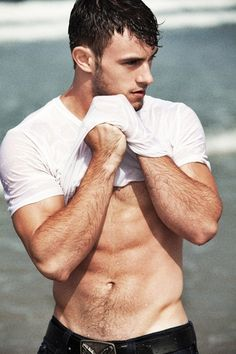 Male models beach wet shirt