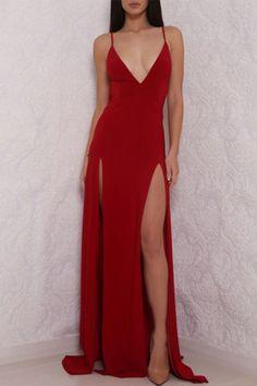 Sexy Deep V Neck Red Prom Dress, High Slit Prom Dress, Sexy Backless Gown, Backless Evening Dress, P on Luulla Straps Prom Dresses, Open Back Prom Dresses, Simple Prom Dress, Backless Prom Dresses, A Line Prom Dresses, Ball Dresses, Cheap Dresses, Sexy Dresses, Dress Prom