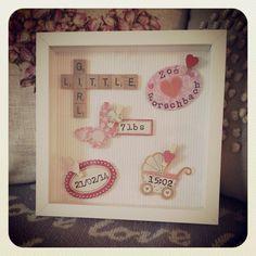 Beautiful New baby girl / boy scrabble art frame. by Emmaswordlove Scrabble Tile Crafts, Scrabble Frame, Scrabble Art, Diy Gifts, Handmade Gifts, Handmade Cards, Baby Frame, Box Frames, Frames Ideas