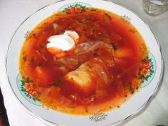 Ukrainian borscht soup, made from beetroots and other vegetables, with meat. Borscht Soup, Chopped Ham, Braided Bread, Sweet Dough, Natural Yogurt, Roasted Meat, How To Make Salad, Learn To Cook, Stuffed Hot Peppers