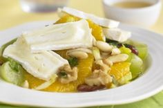 Camembert with orange nutty salad A gloriously sweet, cheesy salad packed with healthy nuts and fruit.