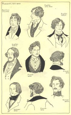 These are illustrations of men's hairstyles during the Romantic Period. Victorian Men, Victorian Fashion, Historical Costume, Historical Clothing, Historical Hairstyles, Pelo Vintage, Victorian Hairstyles, Renaissance Hairstyles, Romantic Period