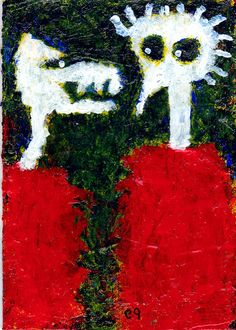 who does your hair e9Art ACEO Paranormal Humor Spirit Ghost Outsider Art Brut #OutsiderArt