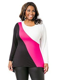 cf2b7ece70a94 Fashion Bug Womens Plus Size Colorblock Sharkbite Top  bbw www.fashionbug.us