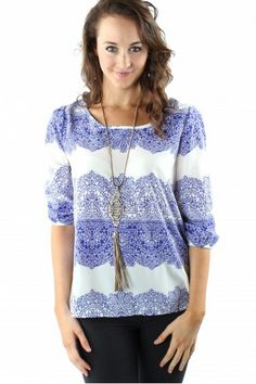 Out Of The Blue Blouse $29.99 #sophieandtrey #tops #blouses #blue #print