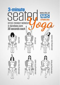 3 Minutes Office Friendly Seated Yoga Workout fitness how to exercise yoga health healthy living home exercise tutorials yoga poses exercising self help exercise tutorials yoga for beginners. >> Find out more at the image link Fitness Workouts, Yoga Fitness, At Home Workouts, Yoga Gym, Fitness Memes, Fitness Tips, Yoga Beginners, Workout For Beginners, Abs Workout Video