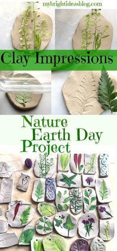 Craft - Perfect for Earth Day Activity - Clay Imprints with Plants and Flowers - My Bright Ideas Nature Craft for Earth Day Projects, Beautiful and Easy Kids Craft. Nature Craft for Earth Day Projects, Beautiful and Easy Kids Craft. Easy Crafts For Kids, Diy For Kids, Kids Arts And Crafts, Camping Crafts For Kids, Creative Crafts, Crafts For Camp, Preschool Crafts, Air Dry Clay Ideas For Kids, Clay Art For Kids