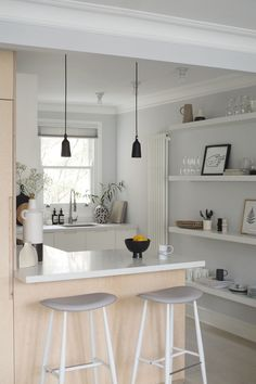 How to design a kitchen peninsula and create a light open place space - open shelving kitchen - kitchen bar stools - plywood kitchen - IKEA kitchen -