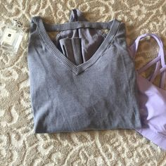 Lululemon Grey Drape Sweater This sweater is super unique and in perfect condition! Fits a true 6 in Lululemon. No tags or hang tag-- Dropping to $50 for one hour 5/15!! lululemon athletica Sweaters V-Necks
