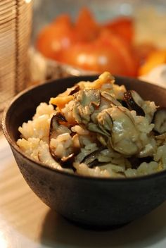 Japanese food .  Oyster Rice