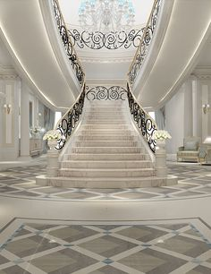 Luxurious Grand Staircase Design Ideas For Amazing Home 45 Luxury Staircase, Grand Staircase, Staircase Design, Interior Design Dubai, Interior Design Companies, Modern Interior, Interior Work, Escalier Art, Building Design