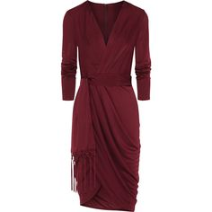 Wrap-effect satin-jersey dress ($43) ❤ liked on Polyvore featuring dresses, short dresses, altuzarra, mini wrap dress, red cocktail dress, short red cocktail dress and red mini dress