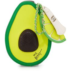 Betsey Johnson Avocado Wristlet Bag ($39) ❤ liked on Polyvore featuring bags, handbags, lime, betsey johnson wristlet, betsey johnson purses, chain purse, zip purse and chain handbags