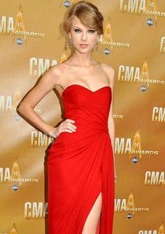 (NO.020728 )Taylor Swift Sheath / Column Sweetheart  Ruffles  Sleeveless Floor-length Chiffon Red Prom Dress / Evening Dress