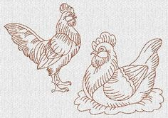 Hen ~Chicken~ Rooster Redwork Machine Embroidery Designs