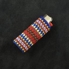 Beaded Blue Lighter Case Native American Beadwork