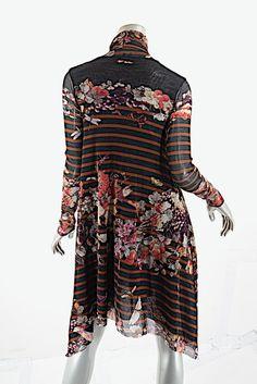 835d8fb9b0a Black Multi Floral Fauna Stripe Printed Nylon Mesh Tunic Short Casual Dress.  Mesh FabricJean Paul GaultierStripe ...