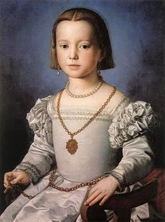 Bronzino, Bia - Daughter of Cosimo de Medici, 1542--hair cut chin length and parted in the middle
