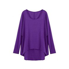 Yoins Purple Loose Women Casual Blouse (£9.28) ❤ liked on Polyvore featuring tops, blouses, purple, crepe top, loose fitting tops, loose fitting blouses, crepe blouse and batwing sleeve blouse