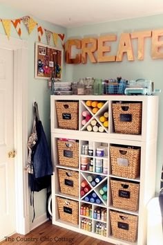 Tour this organized craft room and several others as part of a craft room tours series! If you have a craft studio, this post is for you! Great home craft room idea! Craft Room Decor, Craft Room Storage, Craft Organization, Art Supplies Storage, Craftroom Storage Ideas, Organize Art Supplies, Wall Decor, Craft Storage Drawers, Craft Room Shelves