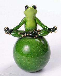 Zen Frog Meditating Yoga Resting on Exercise Ball Green Lacquer Finish New IB | eBay