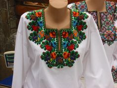 Ukrainian embroidery on dress or blouse necklines.