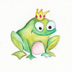 Baby Art Francis the Frog Prince Original Watercolor by BrilliantCritter, #KissMe