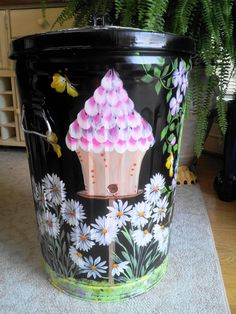 Decorative Hand Painted 20 Gallon Galvanized by krystasinthepointe, $129.00