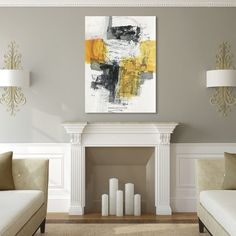 This ready to hang, gallery-wrapped art piece features a yellow and grey abstract image. Jane Davies is a full-time artist working in both collage and painting. Offering workshops nationwide, she focu