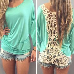 Casual Back Hollow Out Lace Spliced Long Sleeve T-Shirt For Women