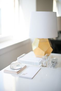 gold, lucite  white lacquer // home office
