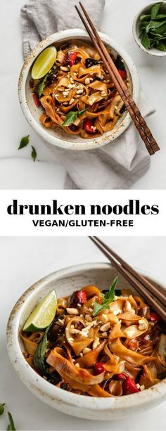 Drunken Noodles Drunken Thai noodles is a easy vegetarian recipe that is full of flavour and easy to make!Drunken Thai noodles is a easy vegetarian recipe that is full of flavour and easy to make! Tasty Vegetarian, Vegetarian Recipes Dinner, Vegan Dinners, Healthy Recipes, Veggie Recipes For One, Easy Vegitarian Dinner Recipes, Vegan Recipes Asian, Simple Easy Dinner Recipes, Lunch Recipes