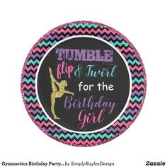 Shop Gymnastics Birthday Party Plates created by SimplyKayleeDesign. Personalize it with photos & text or purchase as is! Surprise Birthday Gifts, 1st Birthday Parties, Birthday Party Invitations, 10th Birthday, Birthday Ideas, Birthday Fun, Wedding Invitations, Paris Party Decorations, Gymnastics Birthday