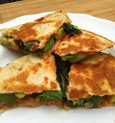"{{From the blog ""Taylor Made"": Avocado, Spinach, Mozzarella & Sriracha quesadilla}}"