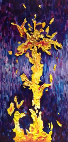 Large Original Purple and Yellow Abstract by NickySpauldingArt, $1000.00