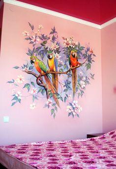 3d Wall Painting, Watercolor Paintings, Wall Art, Room Paint Designs, 3d Street Art, Vintage Interiors, Bird Art, Wall Design, Art Sketches