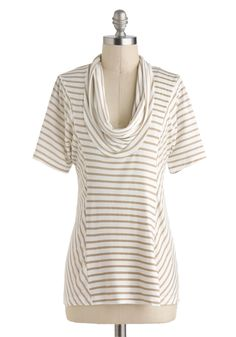 Overnight Travel Top in White Pepper - Exclusives, Tan / Cream, Stripes, Casual, Short Sleeves, Cowl, White, Mid-length