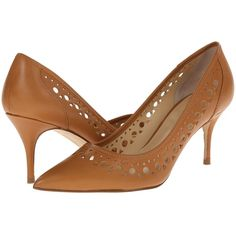 Ivanka Trump Tessie High Heels, Brown ($108) ❤ liked on Polyvore featuring shoes, pumps, brown, perforated shoes, pointed toe shoes, pointy-toe pumps, brown pointed toe pumps and ivanka trump shoes