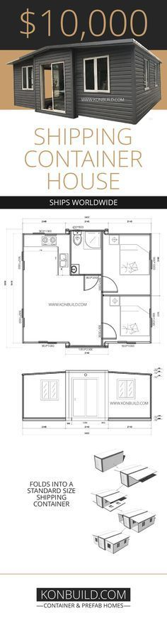 Container House - Source: Konbuild Expandable Container Home - Who Else Wants Simple Step-By-Step Plans To Design And Build A Container Home From Scratch? Building A Container Home, Container Buildings, Container House Plans, Container House Design, Tiny House Design, Cargo Container, Garden Container, Shipping Container Homes, Shipping Containers