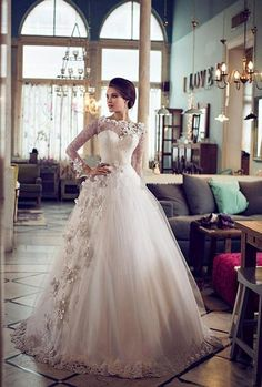 Long Sleeve Lace Wedding Dresses 2016 A Line Bridal Dress Gown Custom Size New in Clothes, Shoes & Accessories, Wedding & Formal Occasion, Wedding Dresses | eBay