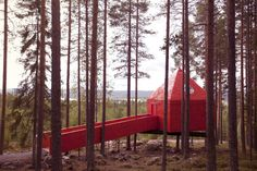 Warning: Bold red ahead. At the Treehotel in the forests of Swedish Lapland, a single cabin is painted an unexpected shade of crimson.    The hotel is a cluster of five treehouses, designed by prominent architects, with the aim of helping guests reconnect with nature. In this cabin, designed by Stockholm-based architects SandellSandberg, the reddest of reds is coupled with a tranquil interior palette of white, light wood, and gray. For booking information, visit Treehotel.