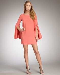 Another gorgeous dress by Elizabeth and James Mabel Flutter Sleeve in a beautiful coral charmeuse.
