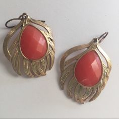 Coral Feather Earrings Coral and Gold Boho Earrings. Medium in size. Light. Namaste Francesca's Collections Jewelry Earrings