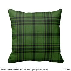 "Forest Green Tartan 16""x16"" Polyester Throw Pillow"