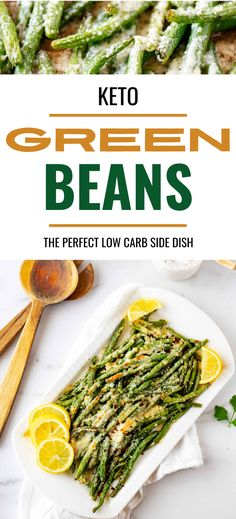 If you like EASY sided dishes you are going to love these Keto Green Beans With Parmesan. This simple oven roasted recipe is the perfect healthy low carb side dish that works just as well for holidays as it does busy weeknights. #kickingcarbs #keto #ketorecipes #greenbeans #vegetables #ketovegetables. Low Carb Vegetarian Recipes, Healthy Gluten Free Recipes, Vegetarian Breakfast, Sugar Free Recipes, Ketogenic Recipes, Low Carb Side Dishes, Veggie Side Dishes, Side Dishes Easy, Low Carb Vegetables