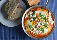 Shakshuka for Two #SundaySupper - kimchi MOM ™  Note: Skip the feta cheese and serve with rice.