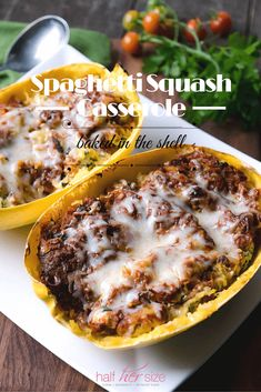 Italian inspired, casserole made light and easy with spaghetti squash in place of pasta. A fun & healthy weeknight dish ~ http://www.halfhersize.com